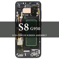 Для samsung Galaxy S8 G950 ЖК дисплей с рамкой Экран дисплея испытания AMOLED черный, серебристый, фиолетовый 5,8 дюймов запасные Запчасти