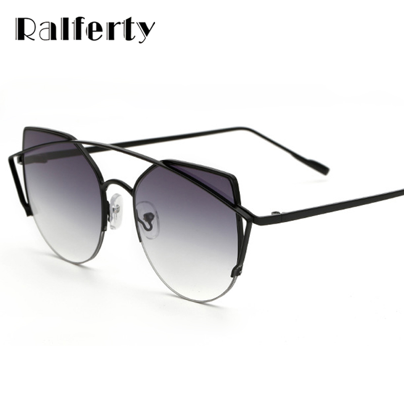 Ralferty Miroir Gradient Cat Eye lunettes de Soleil Femmes Classique Marque  Designer Double-Poutres Gris Cadre Noir Lunettes De Soleil Femmes 2259 5cb8de673454