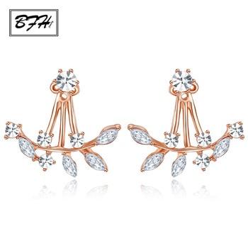 BFH Fahion Luxury Elegant Korean Zircon Crystal Stud Earrings for Women Girl Piercing Gold Leaf Asymmetric Earring Jewelry Gift gold earrings for women