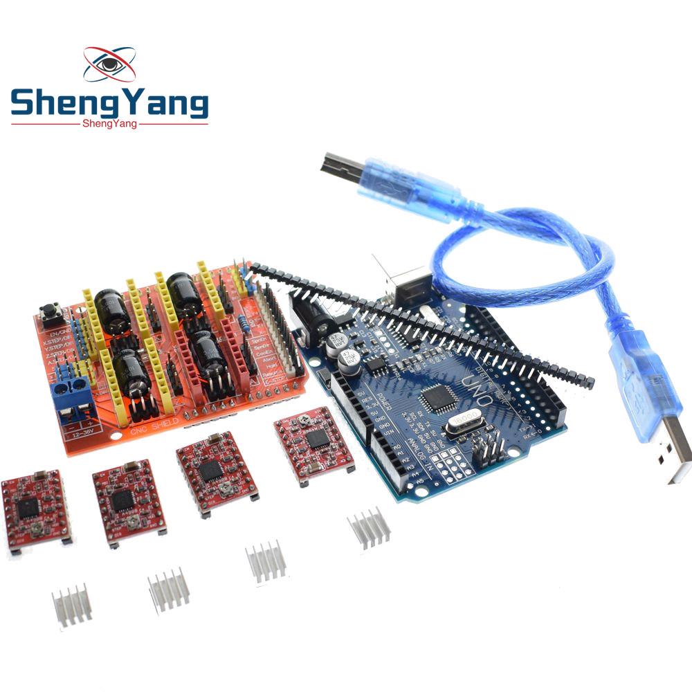 cnc shield V3 engraving machine 3D Printe+ 4pcs DRV8825/A4988 driver  expansion board for Arduino + UNO R3 with USB cable