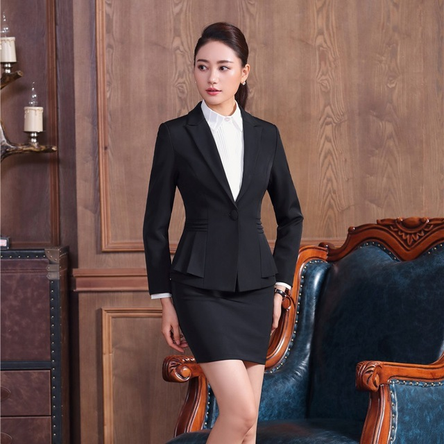 eca80a5a95bc Formal Office Uniform Designs for Women Skirt Suits Black Blazer and Jacket  Sets Ladies Business Suits OL Style