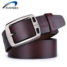 Funteks 100% piel de vaca cinturones de cuero genuino para hombre pin hebilla de cinturón de diseñador hombres de la marca de lujo de los hombres de alta calidad