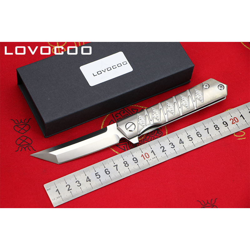 LOCOVOO ST-202 New arrival D2 blade Titanium handle Flipper folding knife Outdoor camping hunting pocket fruit knives EDC tools voltron f95 flipper folding knife bearing d2 blade g10 steel handle outdoor camping hunting pocket fruit knife edc tools