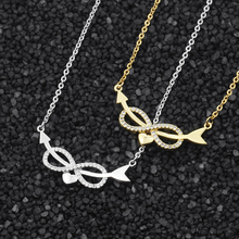 V Attract Unique Cupid's Arrow Heart CZ Infinite Necklace Pendant Wedding Jewelry Best Friends Gift Gold Choker Women