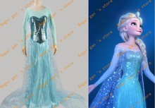 Free shipping New Arrival Custom Made High Quality snow queen elsa Dress Cosplay Costume 018