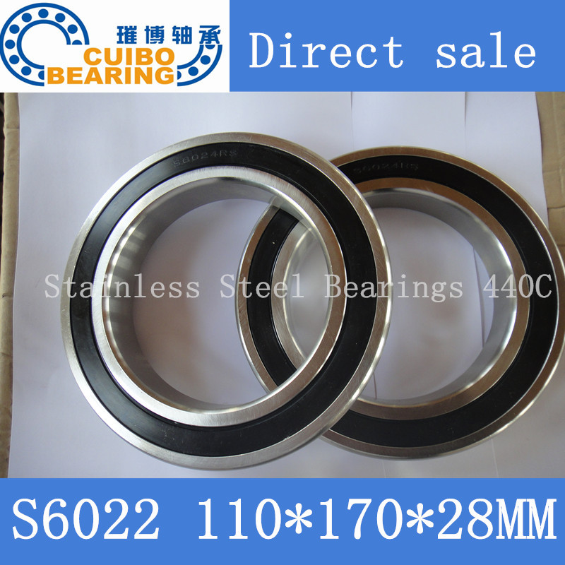 S6022 2RS Stainless Steel Bearing 110x170.x28 Miniature 6022 RS Ball Bearings S6022 free shipping 1pcs s6014 2rs stainless steel bearing 70x110 x20 miniature 6014 rs ball bearings s6014