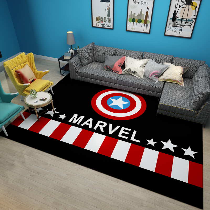 American Style USA Cartoon Carpet Living Room Coffee Table Mat Super Soft Coral Fleece Living Room Carpet Kids Bedroom Mat Rug