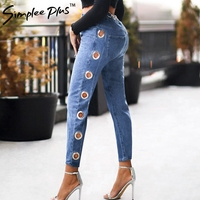 Simplee Plus 2018 High Waist Eyelets Jeans Boyfriend Denim Jeans Sequined Women Pants Female Jeans For Woman Plus size