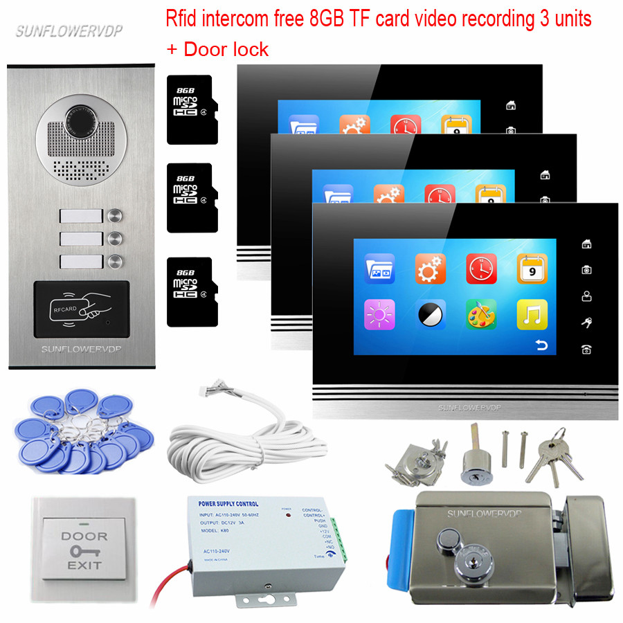Rfid Keyfob Home Video Door Phone Video Call 8GB TF Video Recording 3 Indoor Monitors Video Eyes For The Door With Door Lock Kit