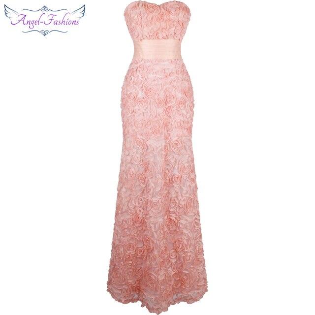 Angel-моды с открытыми плечами шифон Цветы Ruched Длинные Вечерние платья розовый Vestido De Novia 343