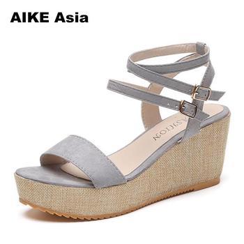 7fe460e0 Aike Asia de verano de mujer de plataforma de sandalias de mujer de boca de  pescado plataforma tacones altos zapatos de cuña Zapatos de dama Sexy  hebilla ...