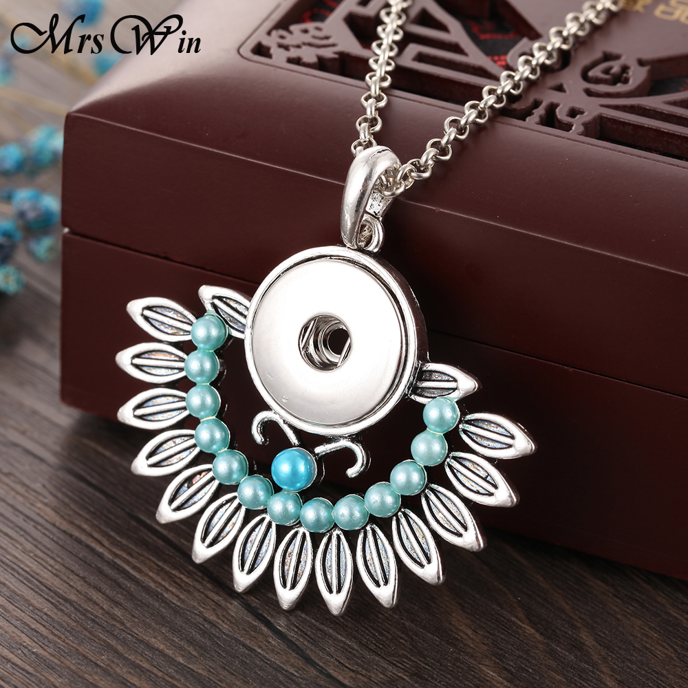 New Snap Buttons Jewelry Necklace Vintage Beaded Snap Pendant Necklace with Chains for Women Girls  Jewelry snap button jewelry