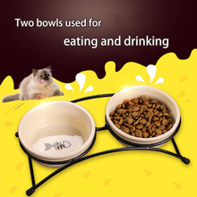 MARTPET Suspensible Double Pet Feeding Bowl Drinking Bowl for Dog Cat Water Food Feeder with Chinese Ceram Pet Bowl цена