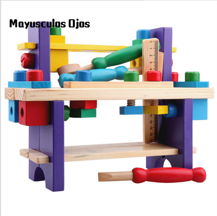 ZH 1Set Wooden Assembly Tool Stand Multi-functional Disassembly Assembly Workbench Children Hands-on Toys