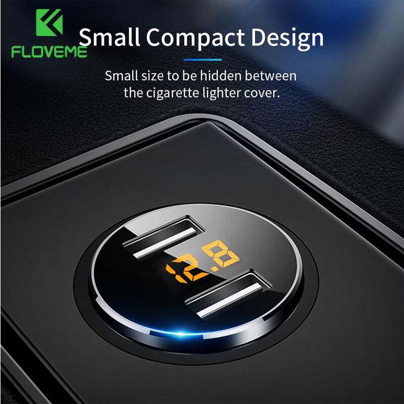 FLOVEME 5V 3.6A chargeur de voiture double USB chargeur rapide allume-cigare chargeur de voiture pour iPhone Xiaomi Samsung chargeurs de téléphone portable