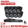48V 8CH POE NVR System 2MP NVR With 8pcs 2 0MP Onvif POE IP Security Camera