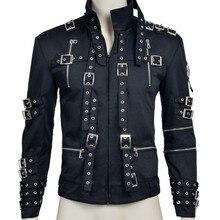 В том же стиле пальто Майкл Джексон косплэй костюм Мужская мода заклепки украшения черный хлопковое пальто Хэллоуин вечерний комплект