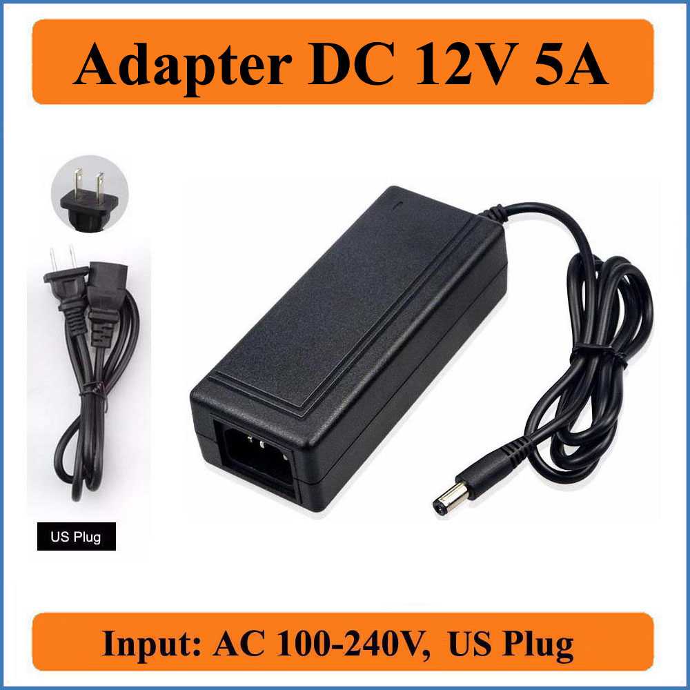 12V 5A US Plug AC DC Adapter AC100-240V Converter to DC12V 60W Power Supply Charger for LED strip Light/LCD Monitor/CCTV Camera