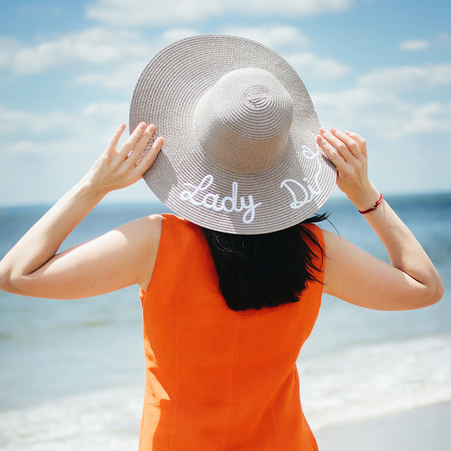 acd8104676e Large Wide Brim Hats Letter Lady Di Embroidered Oversized Straw Floppy Sun  Hats For Women Fashion Summer Beach Sun Hat