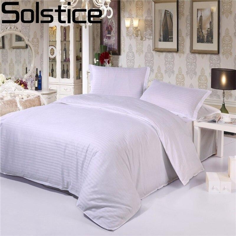 Solstice 100% Algodão Preto Branco Cor de Tarja 3 pc/4 pc Conjuntos de Cama Do Hotel Lençol Capa de Edredão Sólida Plana lençol Fronha Rei