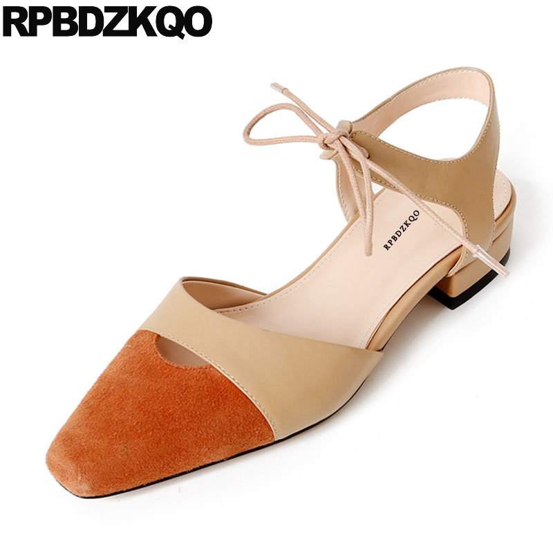 Latest Suede Ankle Strap Low Heel Women Designer Shoes -4568
