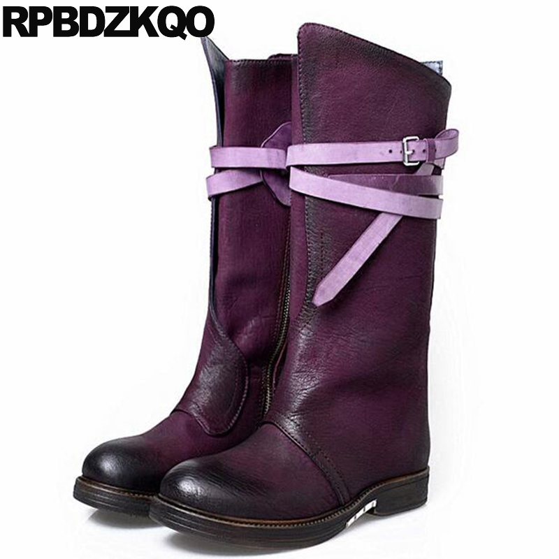 Metal Mid Calf Purple Winter Shoes Genuine Leather Women Sheepskin Strange Fur Side Zip Boots Flat Retro Chunky Size 34 New