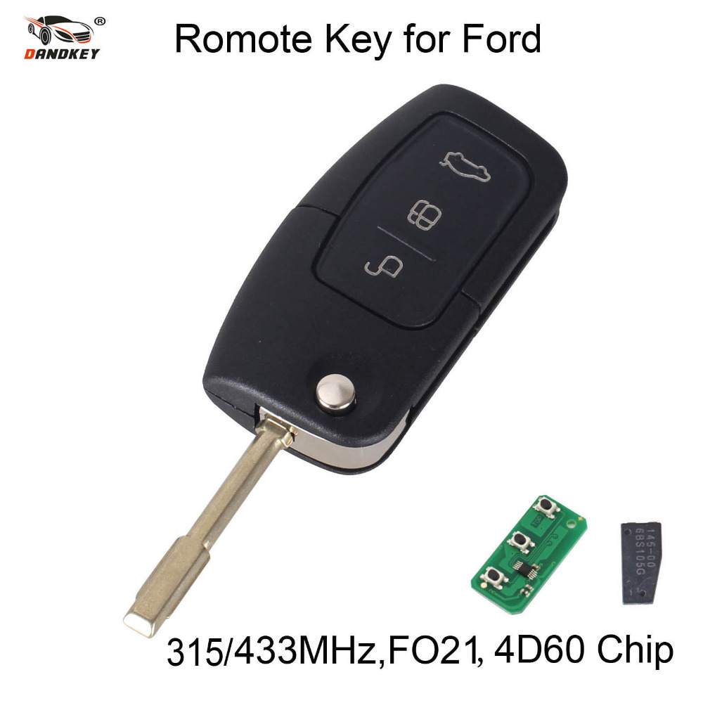 DANDKEY 315/433MHz 3 Buttons Flip Key Fob Transponder Chip key Case For Ford 1998-2005 /FOCUS For MONDEO FO21 Blade