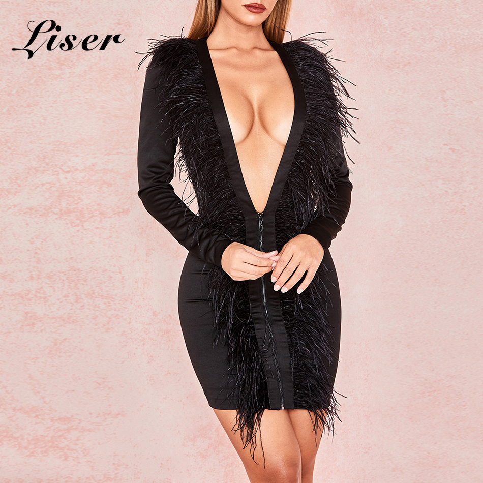 Soirée Robes En New Robe Gros Sexy Femmes De Mini V Liser Moulante Noir Summer Cou 2018 Élégant Plumes MVzGUSpq