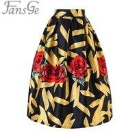 Marque imprimer jupes femmes faldas mujer 2017 d'été plissée plus la taille rétro motif casual vintage patineuse casual jupe plissée