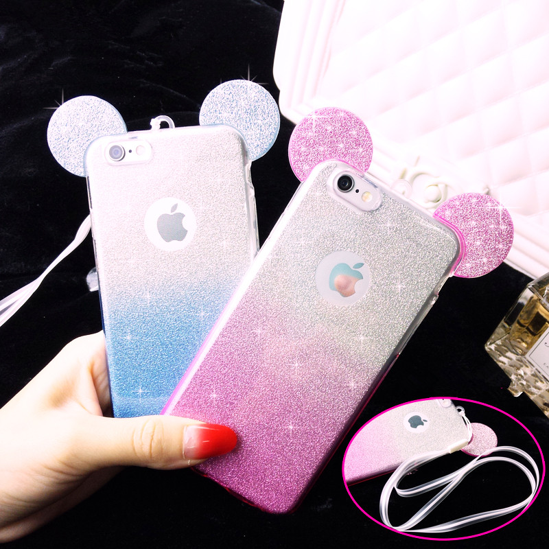 New Hot Mickey Minnie mouse ears Glitter Gradient Phone Case For iPhone5 5S SE 6 6S 6Plus 6sPlus With Hang rope back cover coque