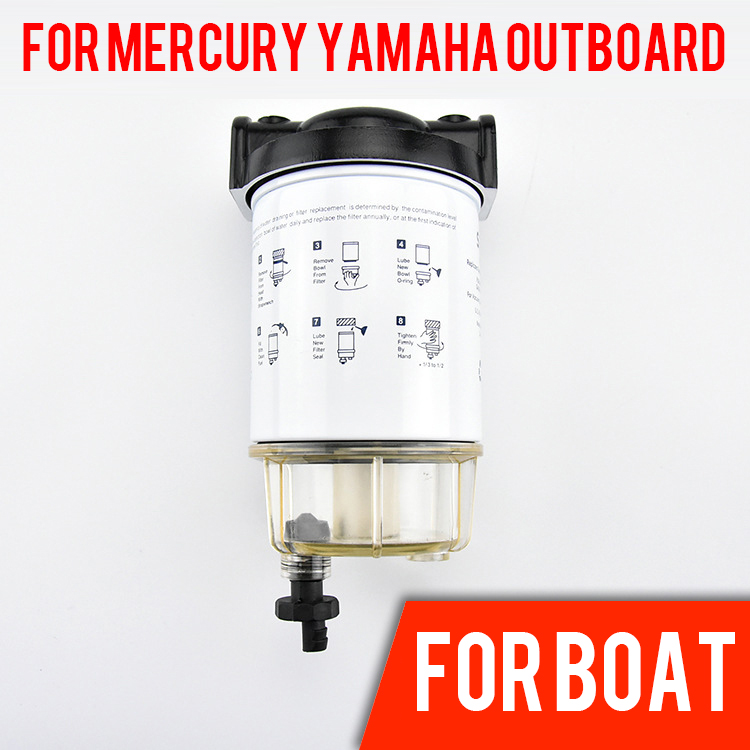 Fuel Water Separator Boat Fuel Filter Marine Engine Fuel Water Separator for Mercury Yamaha Outboard 10 Micron 821854t5 center carburetor for mercury mercruiser outboard engine 55hp 60hp 2 stroke 3 cylinder model 821854a 5