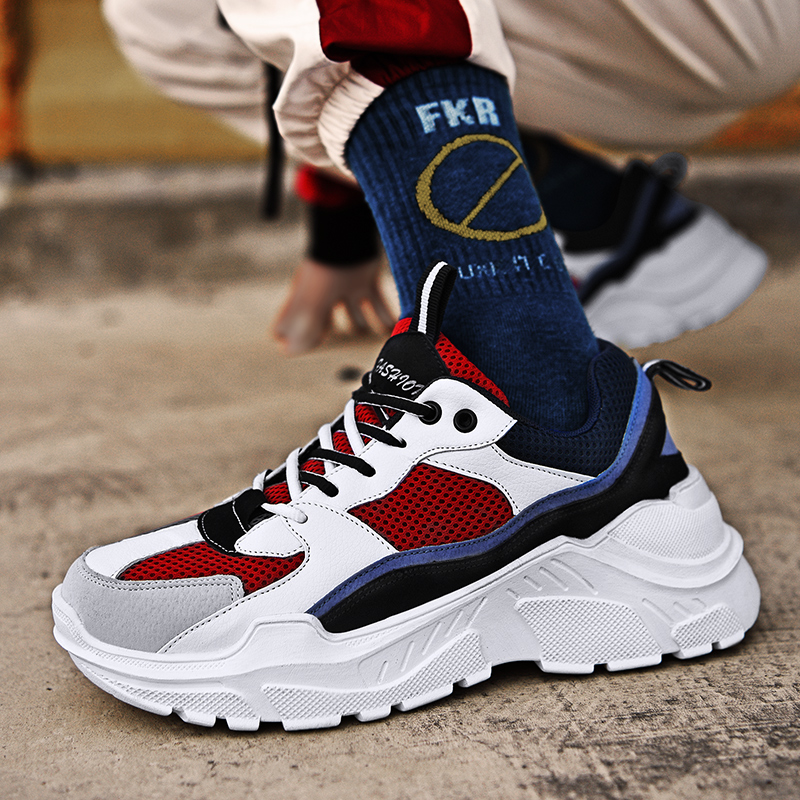 Bomlight Thick Sole Platform Sneakers Men Vulcanize Shoes Man Mixed Color Chunky Dad Shoes Men Trainers Creepers Loafers Size 45