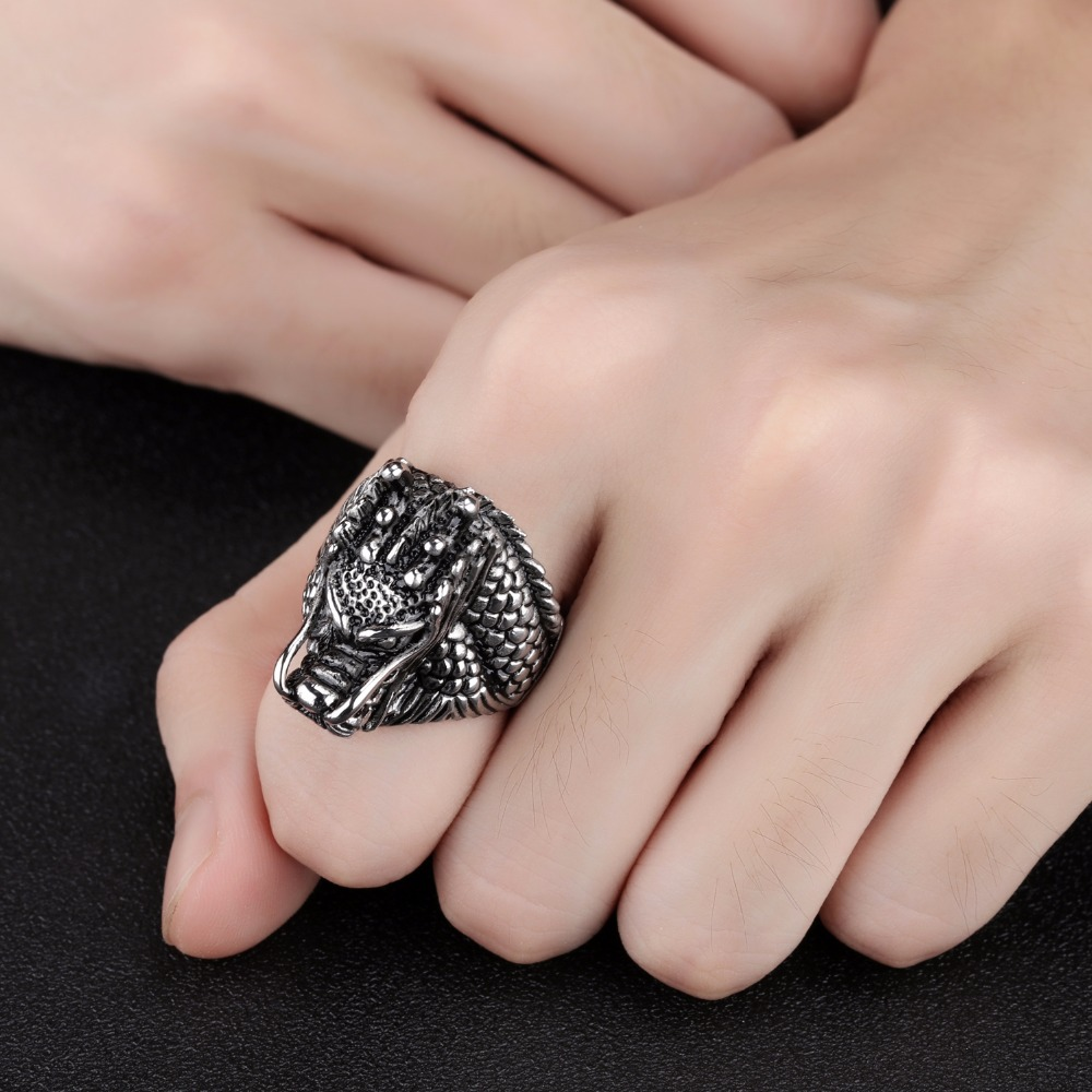 Bird Feather Stainless Steel Men Ring Cool dragon head Titanium ...