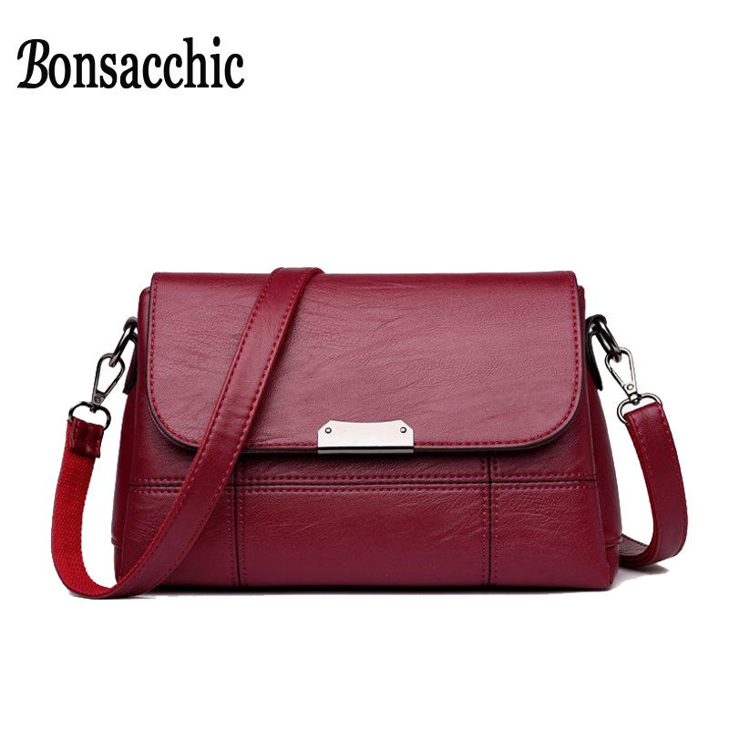 Bonsacchic Fashion Small Female Bag Black Soft PU Leather Crossbody Bag Handbags Women Shoulder Bag 2018 Small Ladies Handbags grey soft plain pu crossbody bag