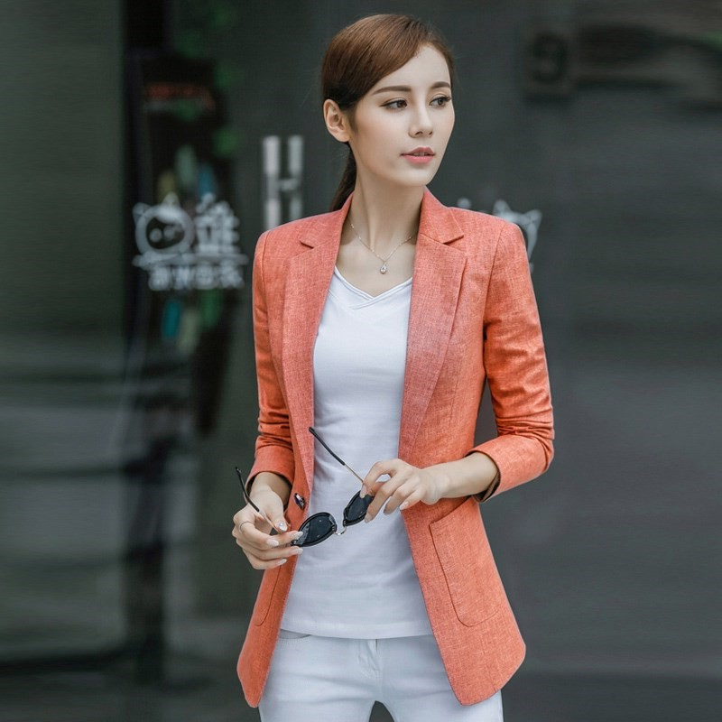 100% Linen Plus Size 4XL Spring Jacket Female Coats Blazer Feminino Long Sleeve One Button Women Suit Jackets Office Blazers