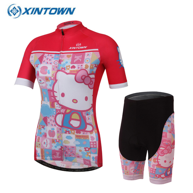 XINTOWN 2017 New Cartoon Pink Hello Kitty Cycling Jersey Summer Short Sleeve  Sycling Shirt Bike Wear Cycle Clothing 1d9b58c0e