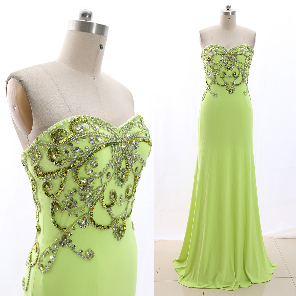 MACloth Mint 0 Strapless Floor-Length Long Crystal Jersey   Prom     Dresses     Dress   M 266013 Clearance
