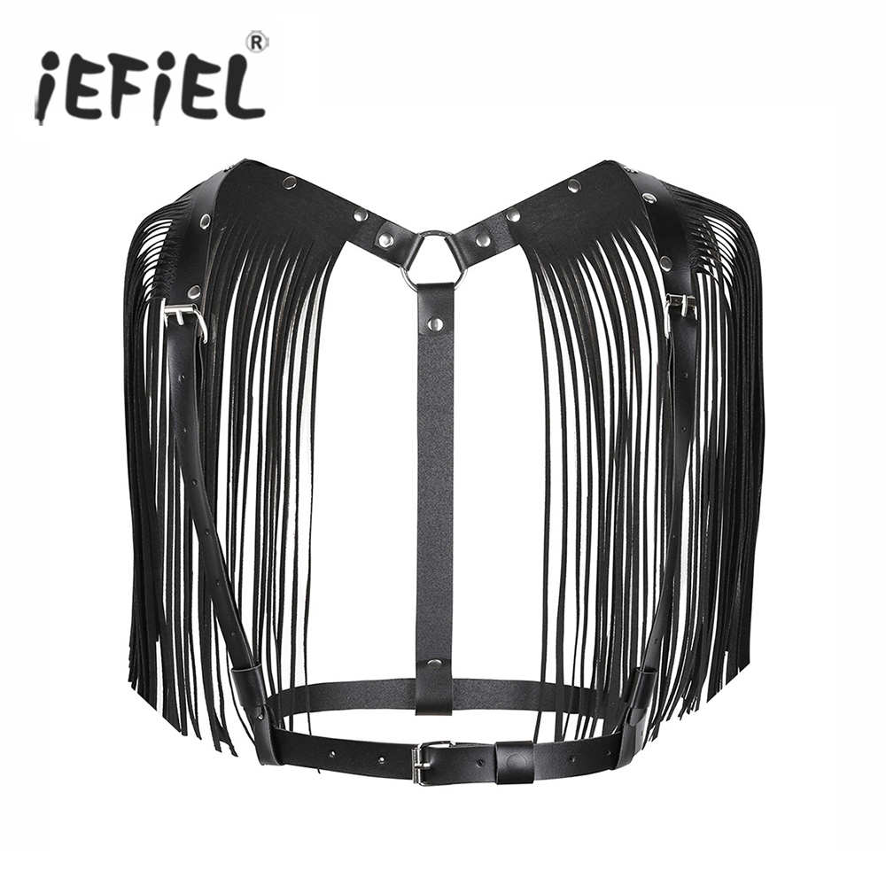Fashion Women Ladies Sexy Clubwear PU Leather Adjustable Body Chest Harness Bondage Belt with Shoulder Tassel Y-shaped Clothing