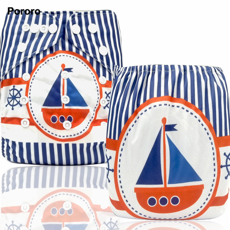 PORORO New Coming Postional Digital Print Pocket Diaper, Printed One Size Cloth Baby Diaper
