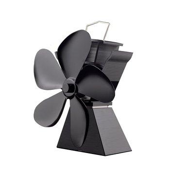 NewestPremium 5 להבי חום מופעל תנור מאוורר דלק חיסכון מוצק אלומיניום תנור מאוורר ידידותית לסביבה ביתי תנור מאוורר מפוח