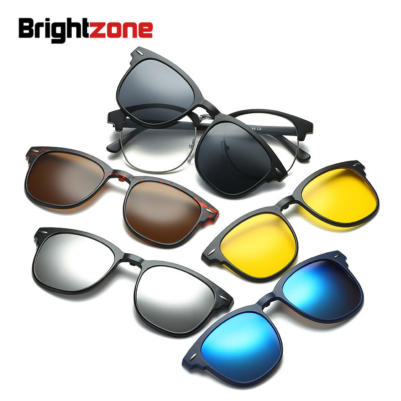 Brightzone <font><b>Magnet</b></font> <font><b>Sunglasses</b></font> Mirror Men Polarized Women <font><b>5</b></font>+1 <font><b>Clip</b></font> On Sun Fashion Glasses For Optical <font><b>Lens</b></font> Eyewear Clout Goggles image