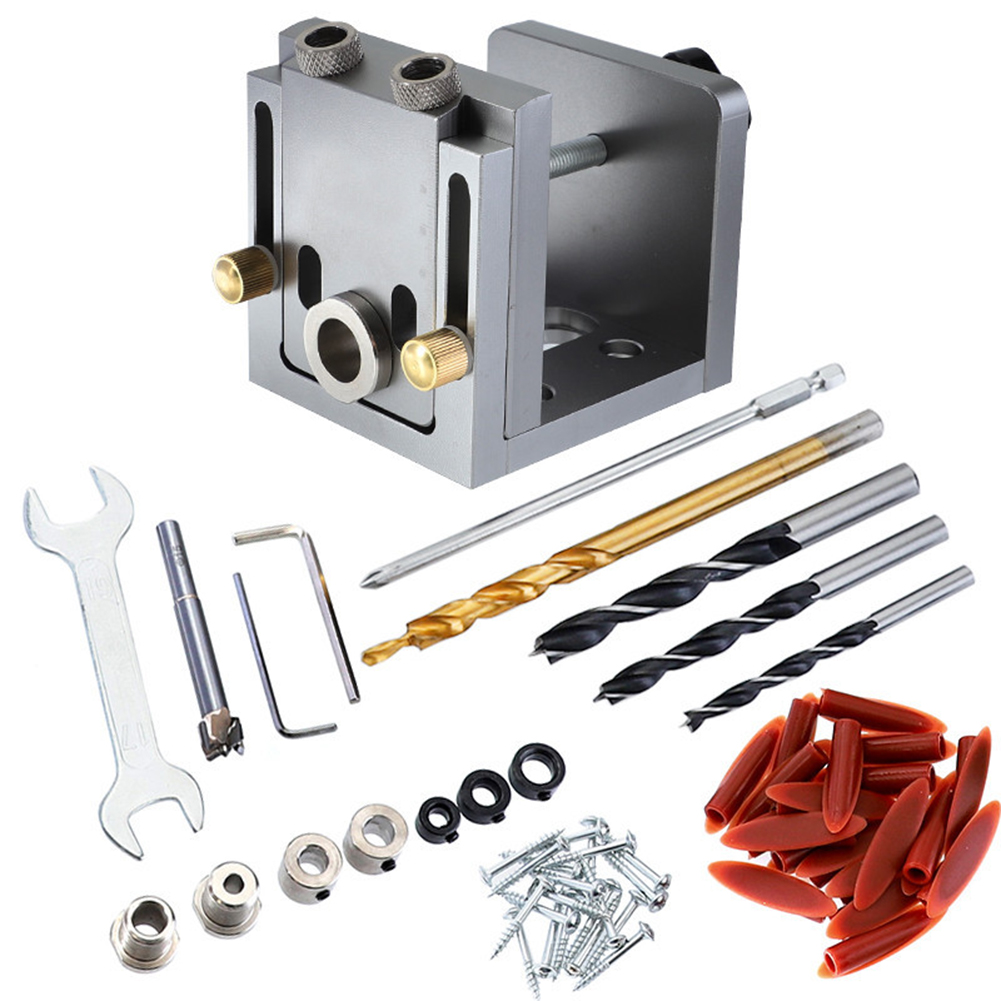 Portable Pocket Hole Jig Kit System With 9mm Drill & Accessories For Carpenter WoodWorking & Joinery Tool Puncher Locator