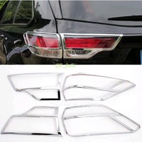 Automotive accessories For Toyota Highlander 2015 Chrome Exterior Car Rear Tail Light Lamp Cover Trim