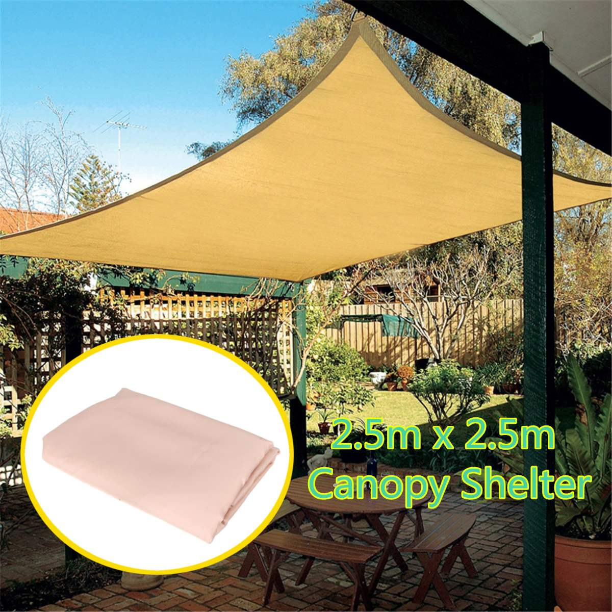 Waterproof Polyester Top Sun Shade Sail Shelter Outdoor Garden Car ...
