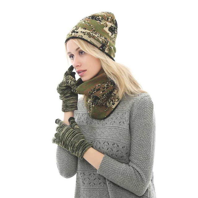 f294ce502cd Camouflage Winter Hats Scarf Gloves For Women Men Thick Cotton Winter  Accessories Set Female Male Beanie Scarf Gloves 3 Pcs Set
