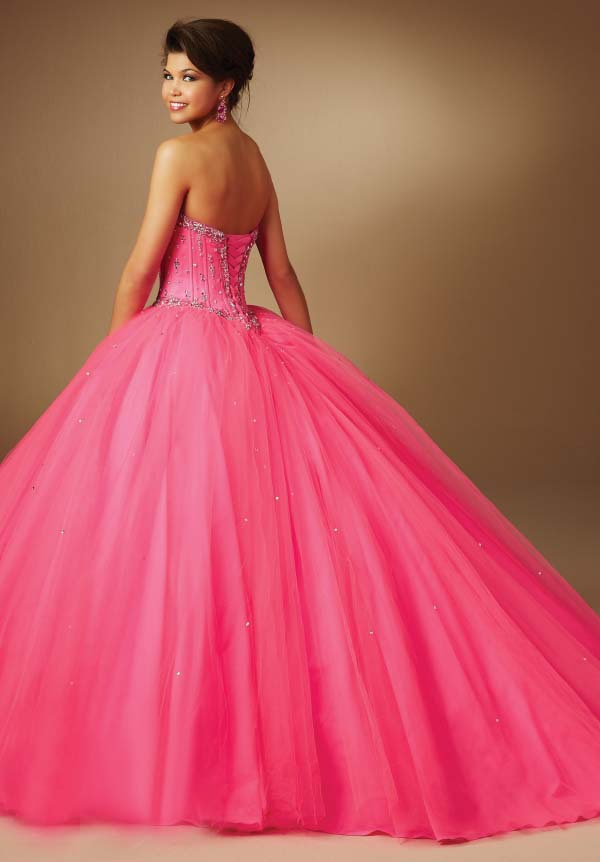 Hot Pink Quinceanera Dresses 2015 Lovely Sweetheart Beaded Corset ...
