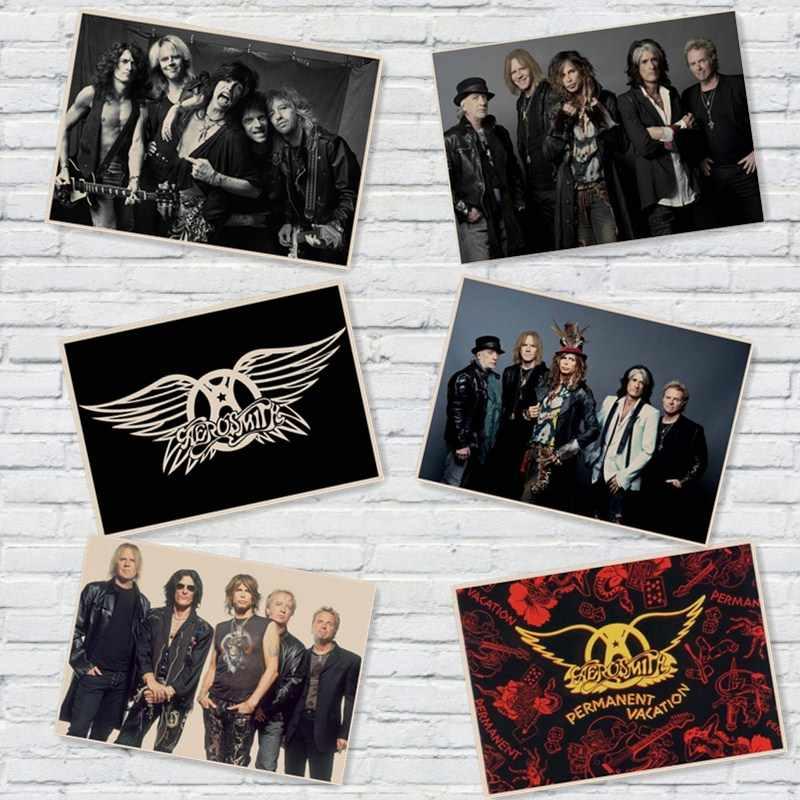 Aerosmith Playlist Musik Rock Poster Vintage Poster (Tanpa Bingkai) poster Film Retro Dekorasi Rumah Stiker Dinding Kraft Kertas/Retro Poster MU35