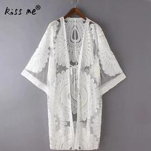 Summer Lace Hollow Crochet Swimsuit cover up swimwear women sexy Lace cover ups Floral beach woman Beach Dress White Tunic Shirt crochet panel floral tunic beach cover up