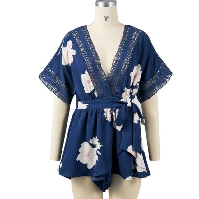 yinlinhe Short Sleeve Floral Summer Playsuit Blue Lace Hollow Out Backless Jumpsuit Women V neck Beach Boho Elegant Rompers 347 4