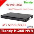 Original Tiandy Suporte H.265 TC-NR2020M7-S2 20CH NVR 1080 P Onvif p2p USB e 2 pcs de 4 T Disco Rígido gravador de vídeo em rede